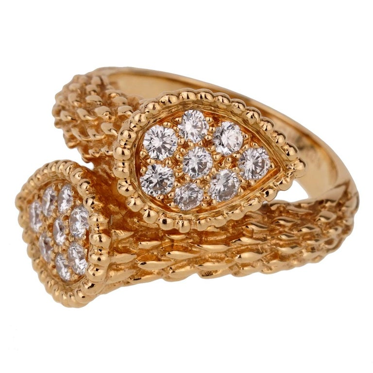 Boucheron Serpent Boheme Toi et Moi Diamond Gold Ring In Excellent Condition For Sale In Feasterville, PA