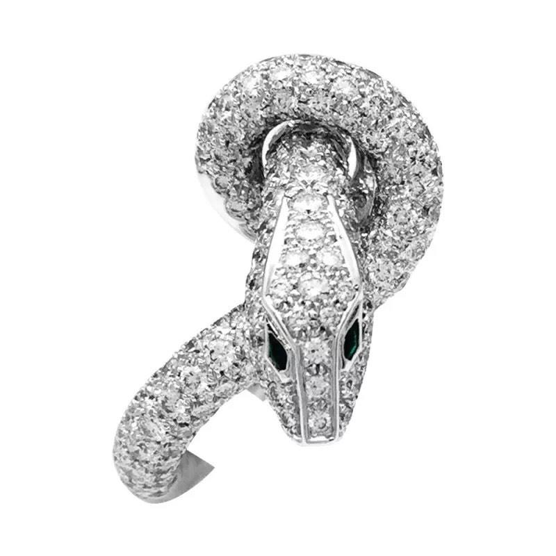 Boucheron Serpent Kaa Diamonds Emeralds 18 Carats White Gold Ring