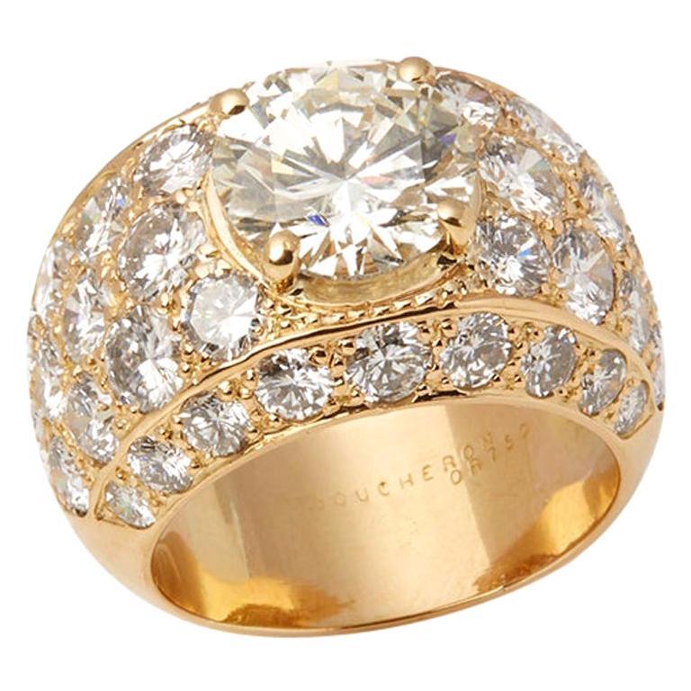 Boucheron Set 18 Karat Yellow Gold Certified Diamond Cocktail Ring