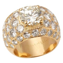 Boucheron Set 18 Karat Yellow Gold Certified Diamond Cocktail Ring