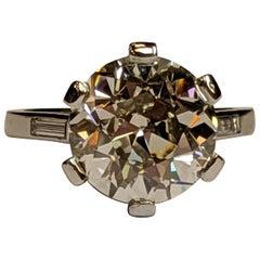 Boucheron Six Carat Old European Cut Diamond Solitaire in Original Platinum Ring