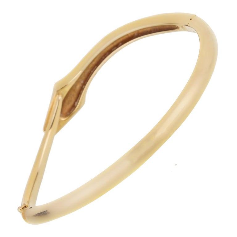 Boucheron Snake Vintage Yellow Gold Bangle Bracelet In Excellent Condition For Sale In Feasterville, PA