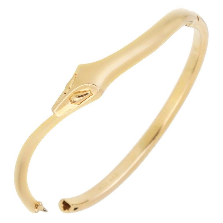 Boucheron Snake Vintage Yellow Gold Bangle Bracelet For Sale