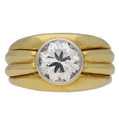 Boucheron Solitaire Diamond Gold Ring