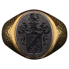Boucheron Steel and 18 Karat Yellow Gold Signet Ring