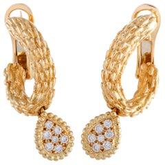Boucheron Toi et Moi Serpent Bohème Yellow Gold Diamond Oval Hoop Omega Earrings