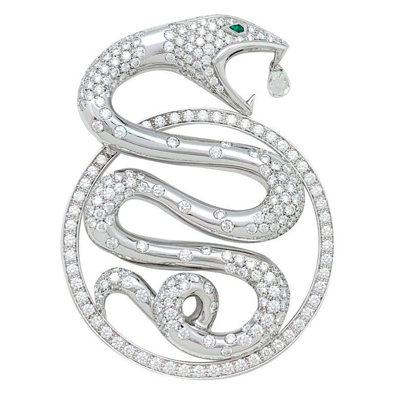 "Boucheron, ""Trouble"" Collection Pendant, Diamonds and Emeralds For Sale"