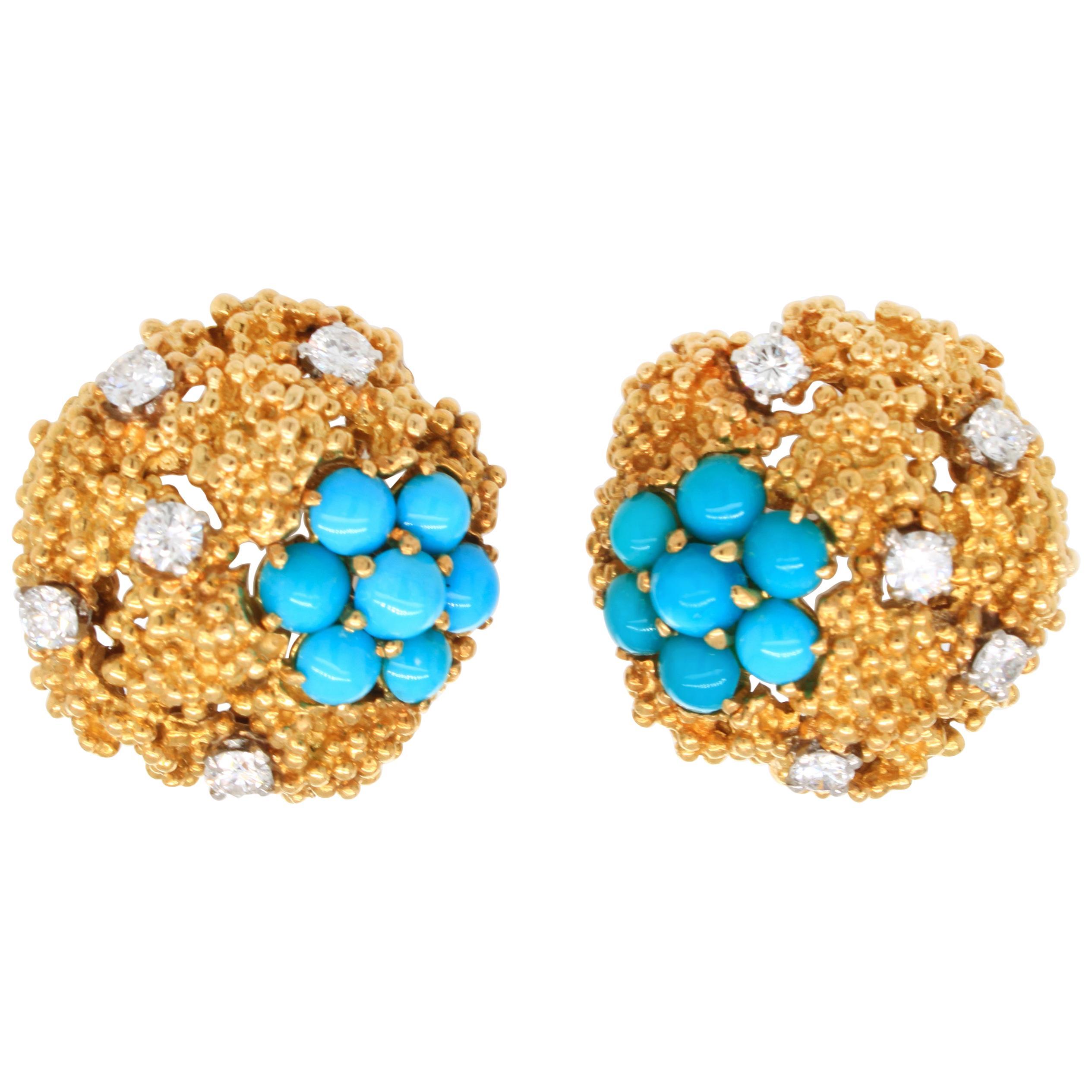Boucheron Turqouise and Diamond Gold Nugget Earrings, 1940s