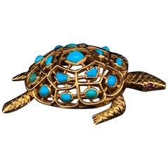 Boucheron Turquoise Turtle Brooch 18 Karat Yellow Gold