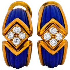 Boucheron Vintage 0.51 Carat Diamond Lapis 18 Karat Gold Ear-Clip Earrings