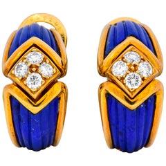 Boucheron Vintage 0.51 Carat Diamond Lapis 18 Karat Gold French Clip Earrings
