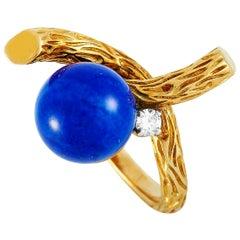 Boucheron Vintage 18 Karat Yellow Gold 0.10 Carat Diamond and Lapis Lazuli Ring