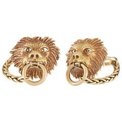 Boucheron Vintage 18 Karat Yellow Gold Lion Head Cufflinks