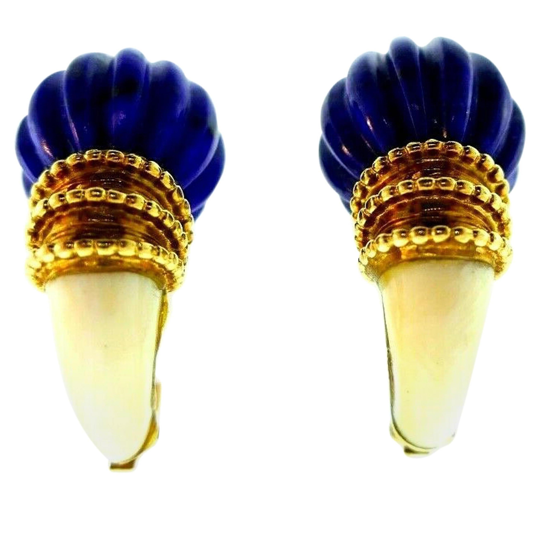 Boucheron Vintage 1970s Yellow Gold Lapis Earrings