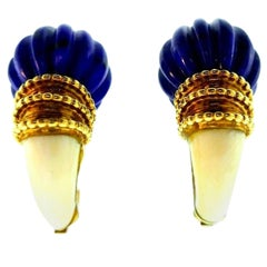 Boucheron Vintage 1970s Yellow Gold Lapis Earrings