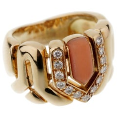 Boucheron Vintage Coral Diamond Yellow Gold Ring