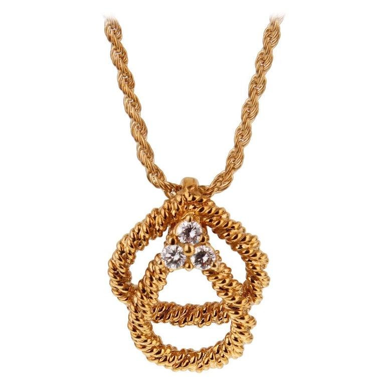 Boucheron Vintage Diamond Gold Necklace For Sale