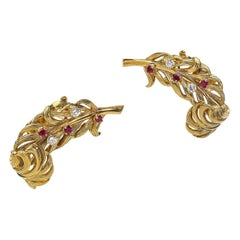 Boucheron Vintage Diamond Ruby Gold Feather Earclips, France