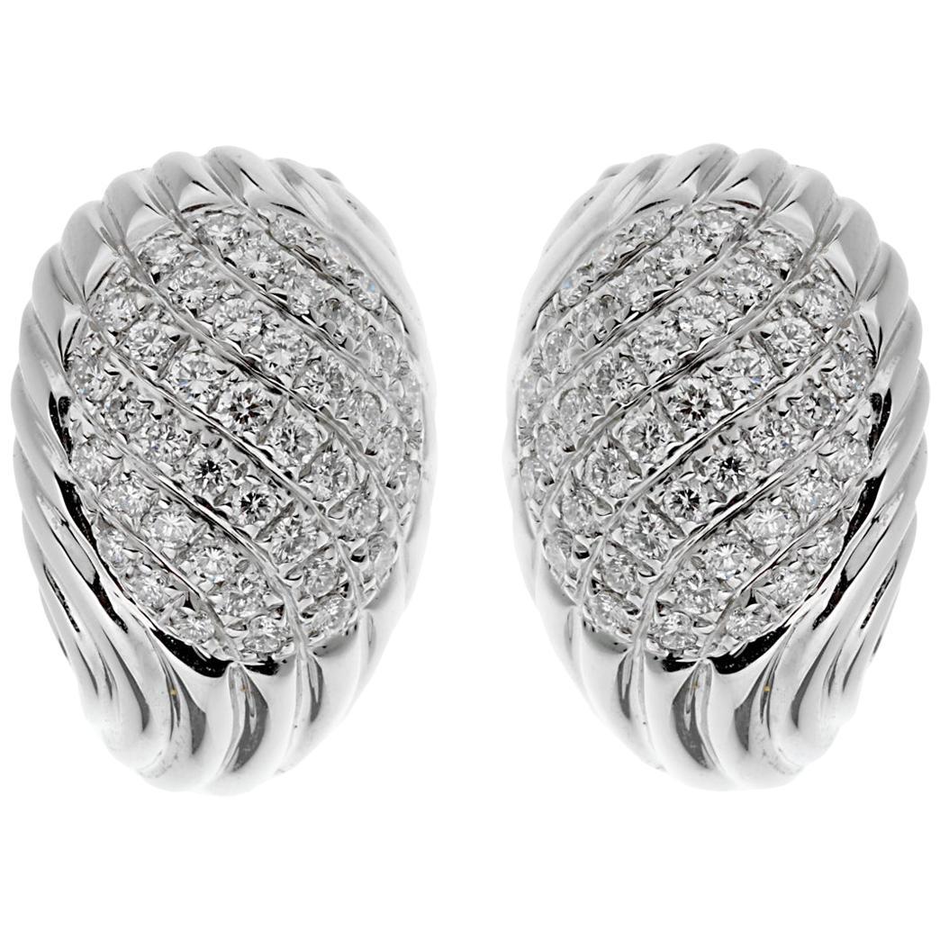 Boucheron Vintage White Gold Diamond Swirl Earrings