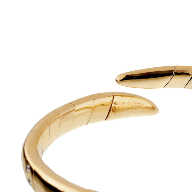 Round Cut Boucheron Vintage Yellow Gold Diamond Cuff Bangle Bracelet For Sale