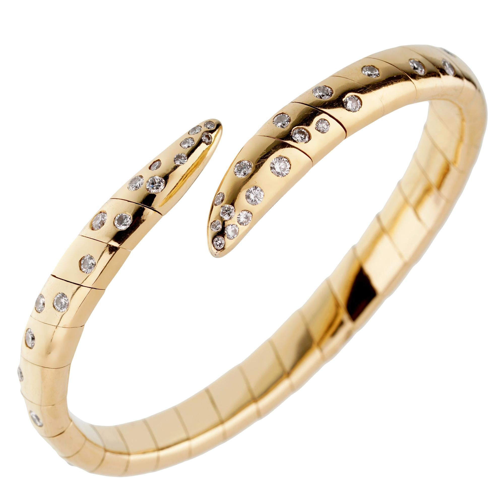 Boucheron Vintage Yellow Gold Diamond Cuff Bangle Bracelet