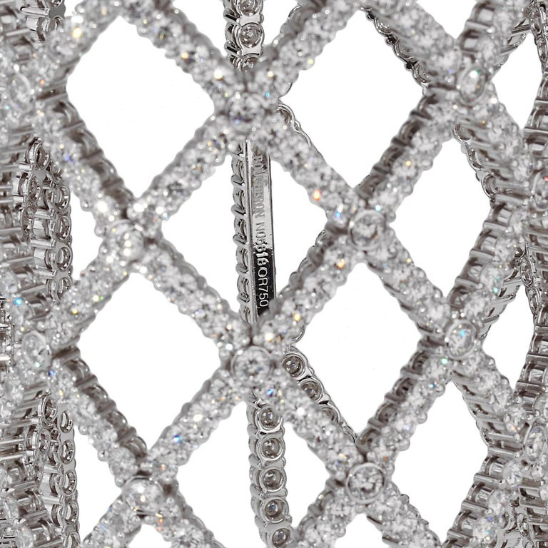 Boucheron Weave Diamond White Gold Cuff In Excellent Condition For Sale In Feasterville, PA