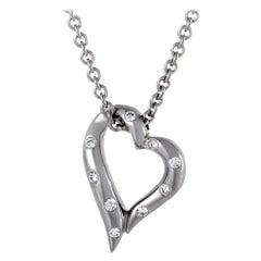 Boucheron Womens 18 Karat White Gold Diamond Heart Pendant Necklace