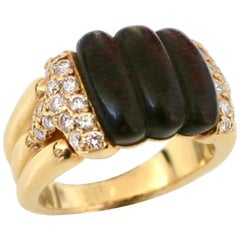 Boucheron Wood Diamond and Gold Ring, 1970s