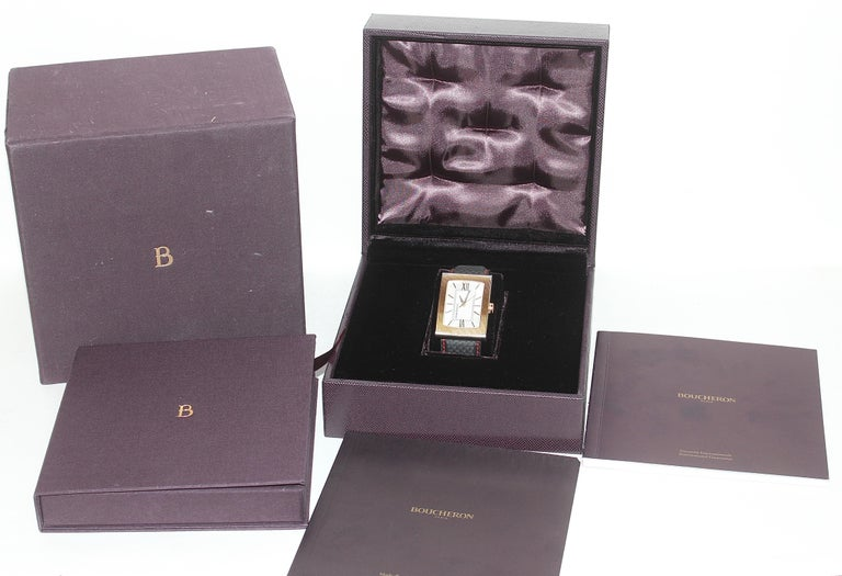 Boucheron XL Automatic Designer Wristwatch, Steel and 18 Karat Rose Gold For Sale 5