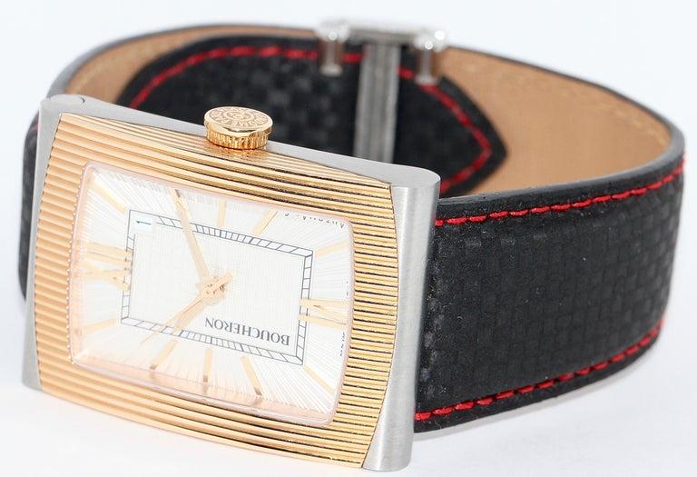 Boucheron Automatic Designer Wrist Watch, Steel and 18 Karat Gold.