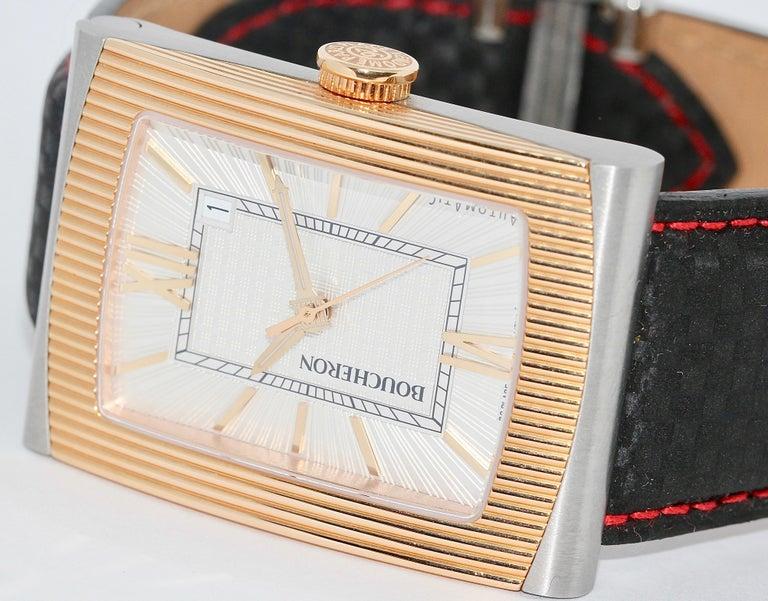 Modern Boucheron XL Automatic Designer Wristwatch, Steel and 18 Karat Rose Gold For Sale