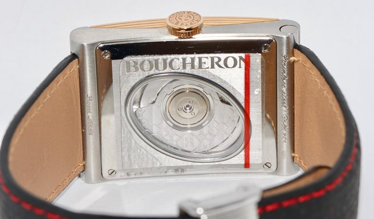 Women's or Men's Boucheron XL Automatic Designer Wristwatch, Steel and 18 Karat Rose Gold For Sale