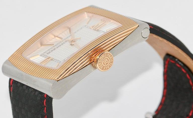 Boucheron XL Automatic Designer Wristwatch, Steel and 18 Karat Rose Gold For Sale 1