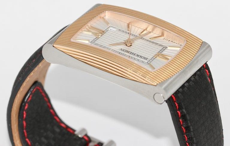 Boucheron XL Automatic Designer Wristwatch, Steel and 18 Karat Rose Gold For Sale 3