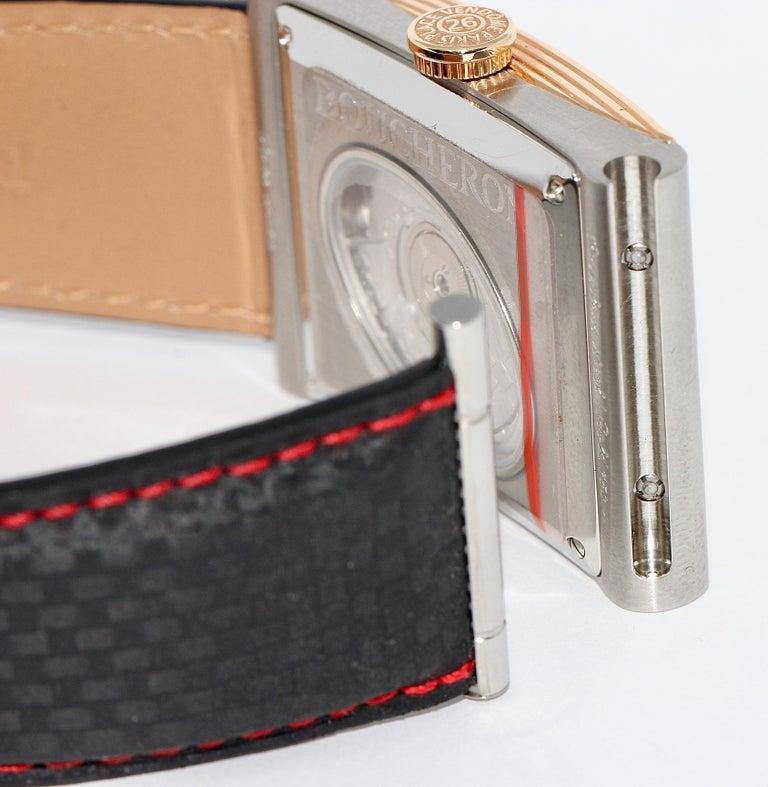 Boucheron XL Automatic Designer Wristwatch, Steel and 18 Karat Rose Gold For Sale 4