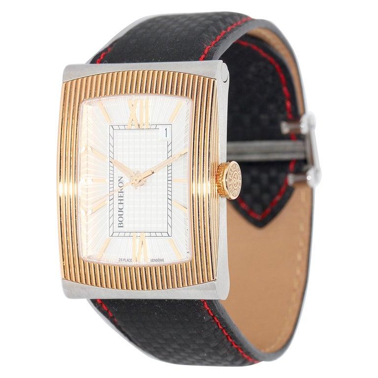 Boucheron XL Automatic Designer Wristwatch, Steel and 18 Karat Rose Gold For Sale