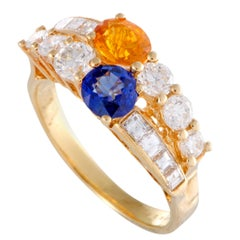 Boucheron Yellow and Blue Sapphire, Diamond and Yellow Gold Band Ring