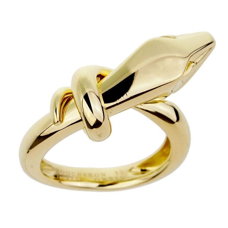 Boucheron Yellow Gold Snake Ring For Sale 1
