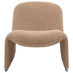Bouclé Reupholstered Alky Chair by Giancarlo Piretti for Castelli, Italy, 1970s