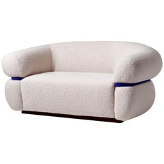 Bouclé Sofa with Soft Velvet Piping Malibu