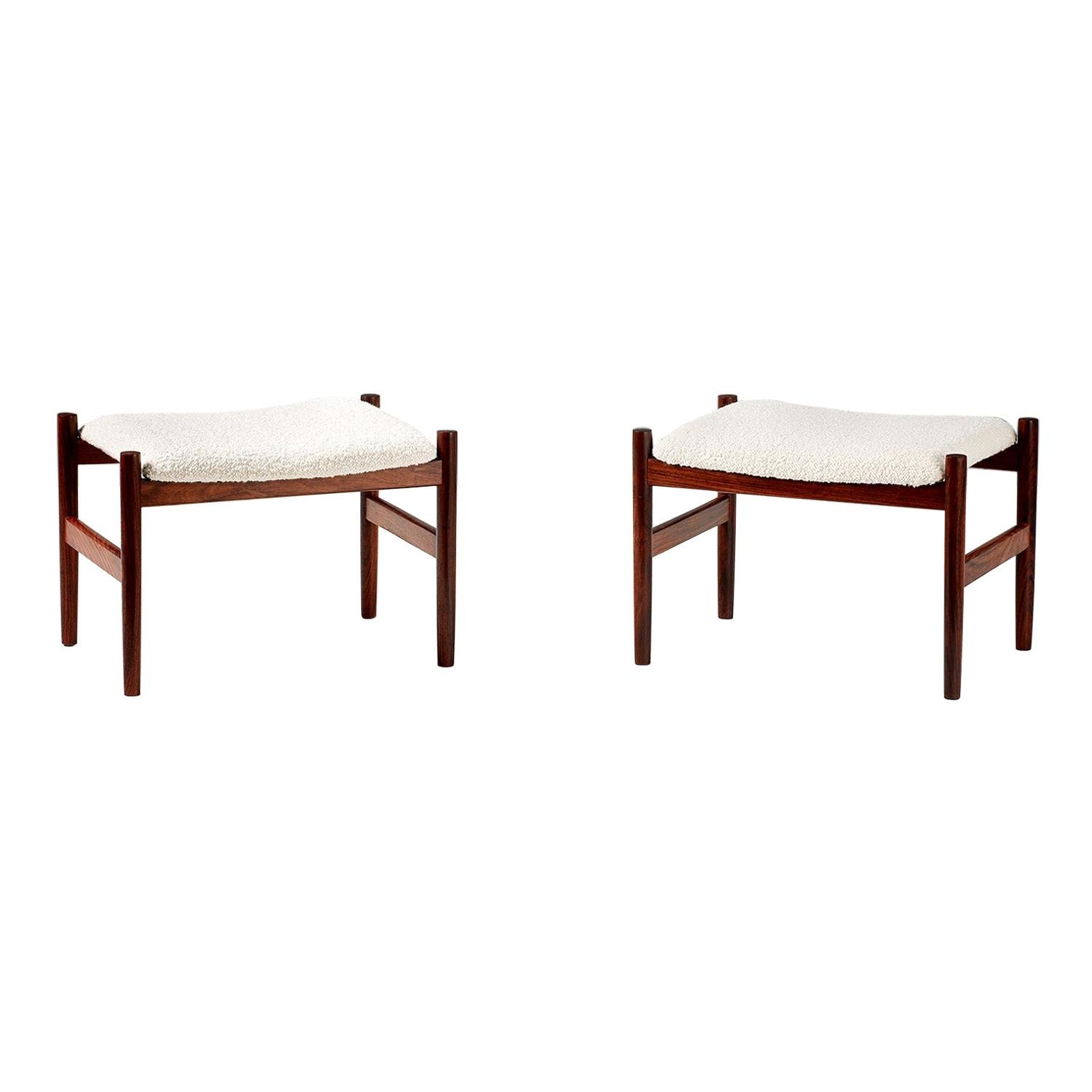 Boucle Wool Vintage Rosewood Stools by Spottrup, Denmark, 1960s