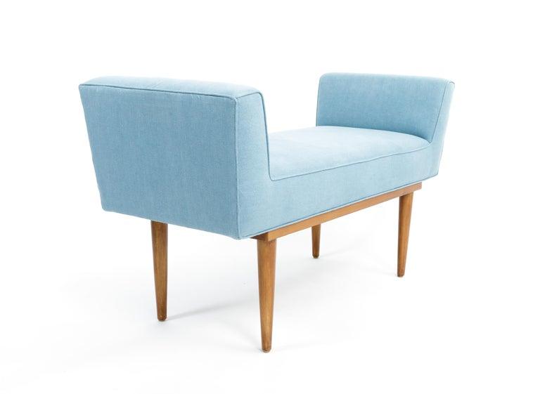 20th Century Mid-Century Boudoir Bench Upholstered in a Denim Blue Linen For Sale