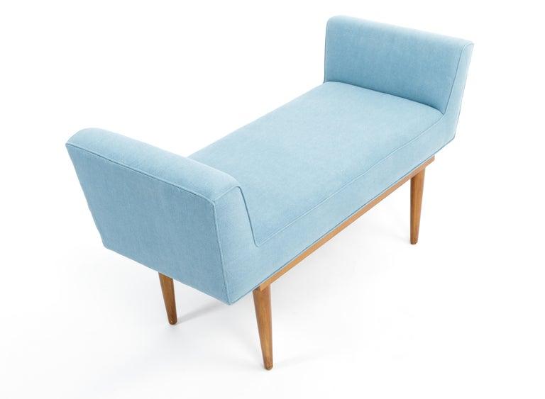 Mid-Century Boudoir Bench Upholstered in a Denim Blue Linen For Sale 1