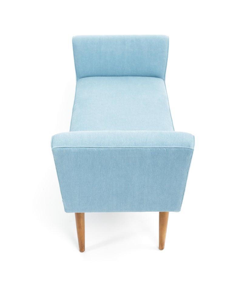Mid-Century Boudoir Bench Upholstered in a Denim Blue Linen For Sale 2