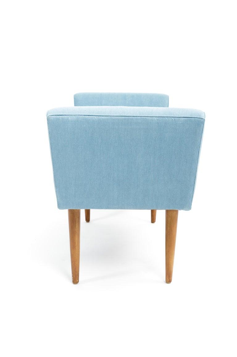 Mid-Century Boudoir Bench Upholstered in a Denim Blue Linen For Sale 3