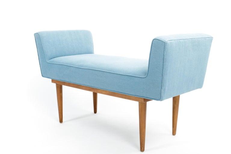Mid-Century Boudoir Bench Upholstered in a Denim Blue Linen For Sale 4