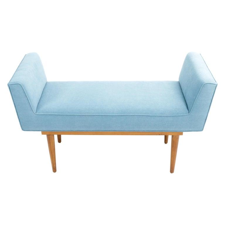 Mid-Century Boudoir Bench Upholstered in a Denim Blue Linen For Sale