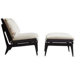 Boudoir Chair and Ottoman with Black Steel Legs, Grey Leather, Brass Hardware