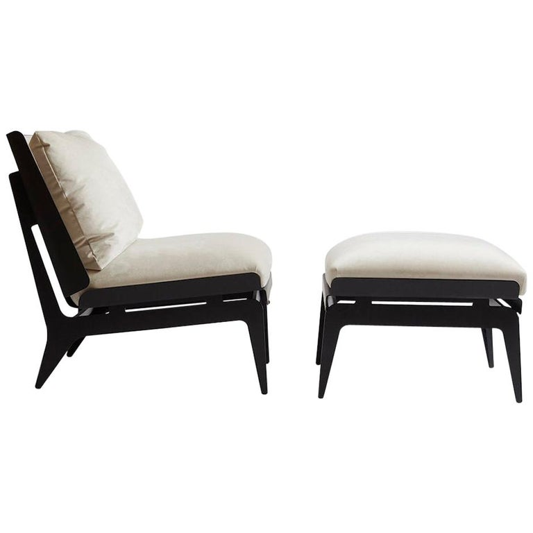 Super Boudoir Chair And Ottoman With Black Steel Legs Grey Leather Brass Hardware Pdpeps Interior Chair Design Pdpepsorg