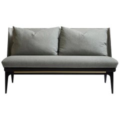 Boudoir Loveseat with Black Steel Legs, Brass Hardware, Grey Fabric and Leather